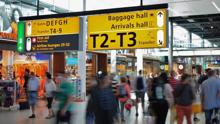airport with yellow signs