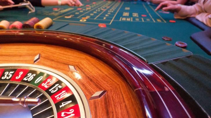 roulette wheel inside a casino