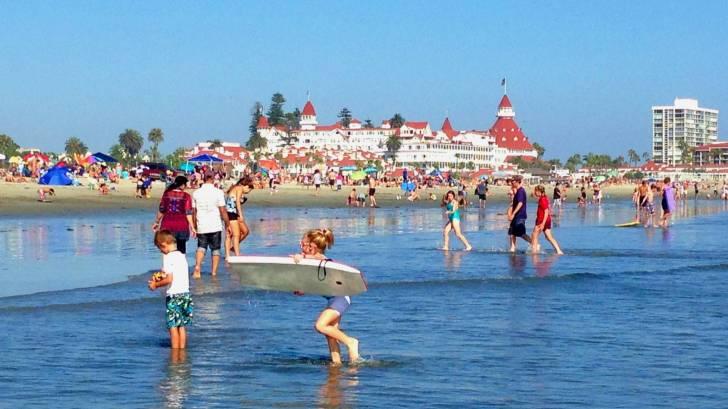 beach scene at the hotel del coronado in san diego