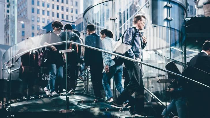 men walking around