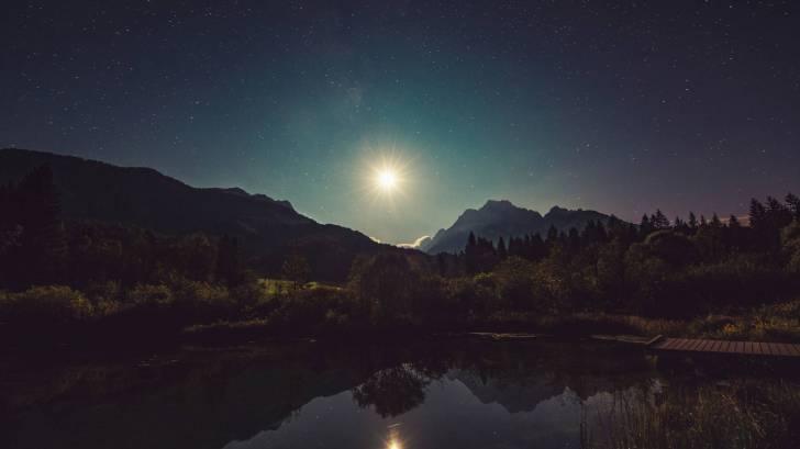 moon shine reflecting in lake