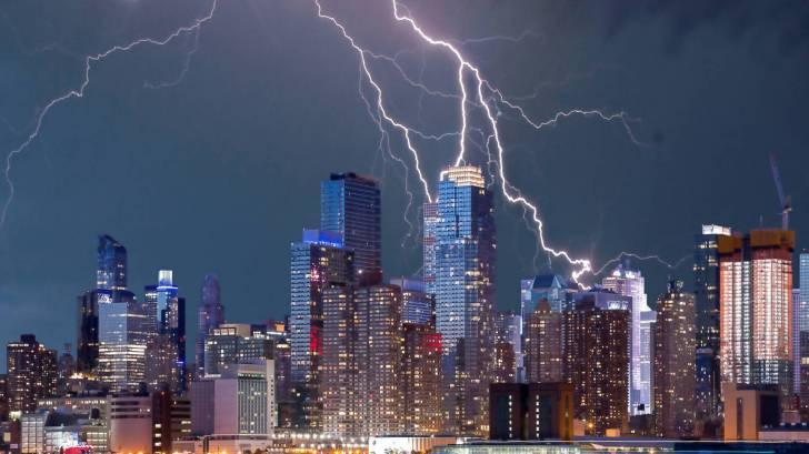 NYC skyline with lightening striking