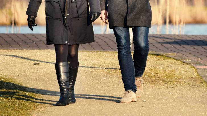 couple walking in the cold
