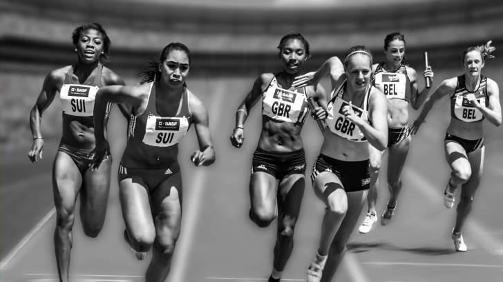 women in a relay race