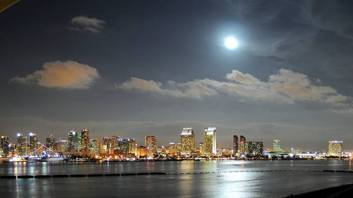 san diego bay at night time