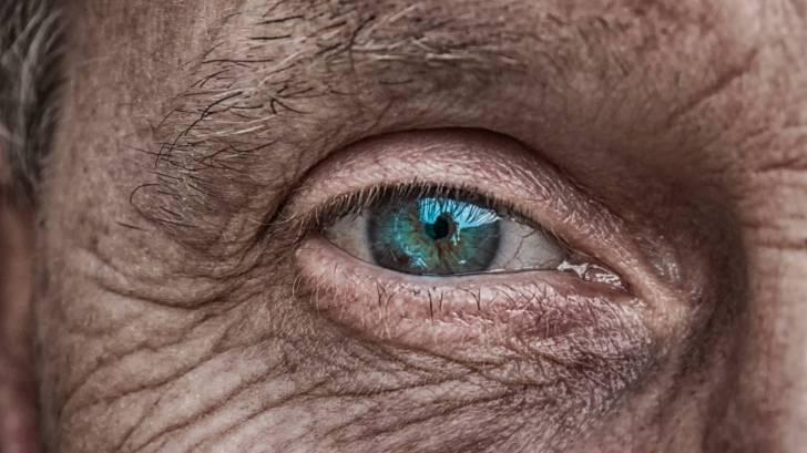 older mans eye. wrinkle skin