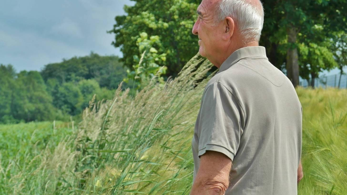 older man walking in a field