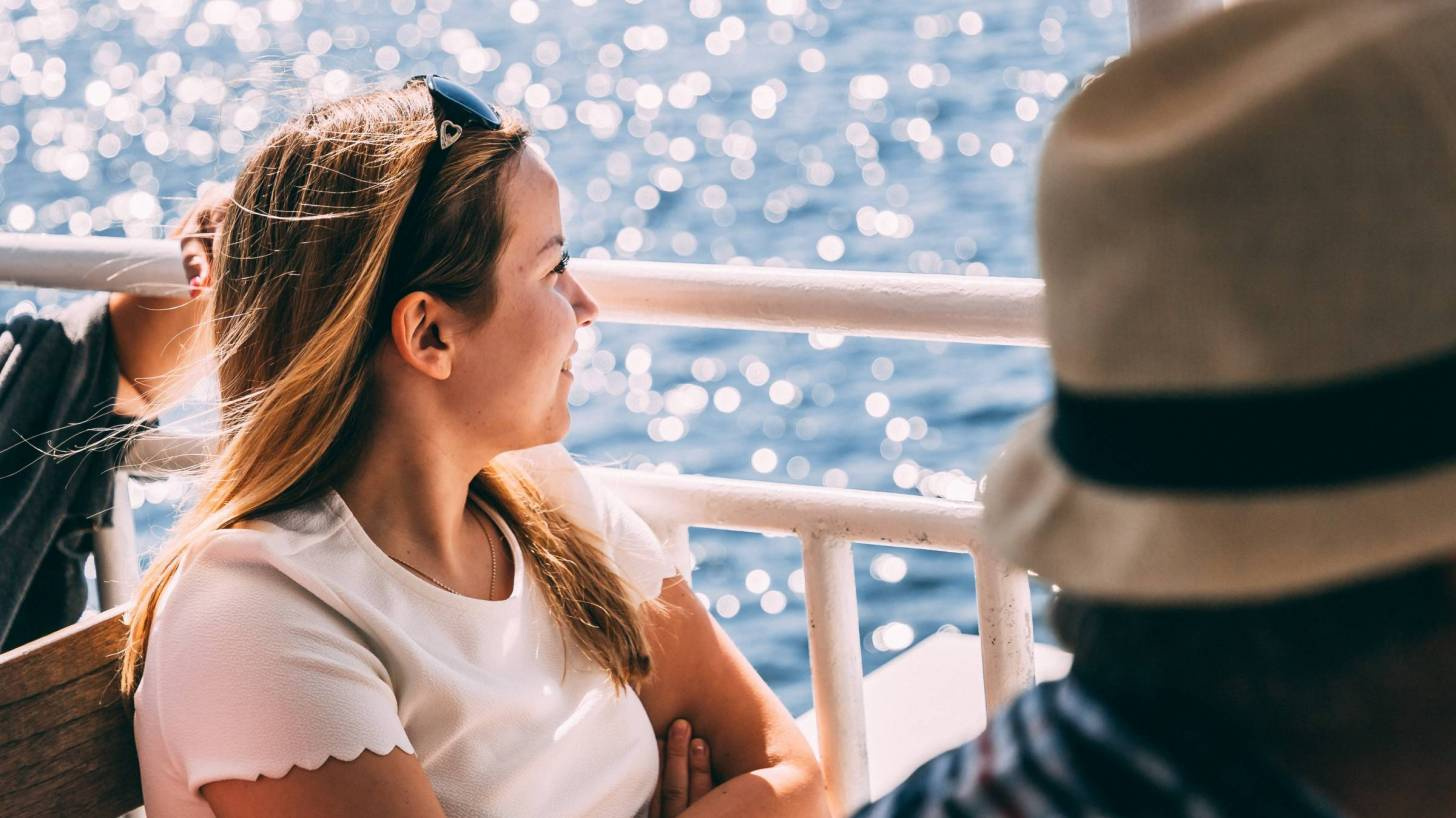 young girl on ferry boat