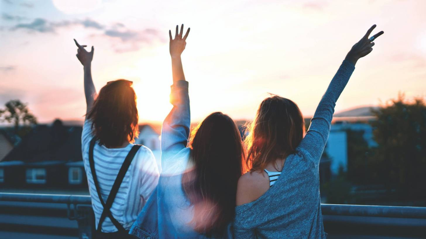 young girls celebrating