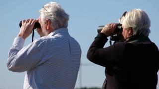 older couple looking thru binoculars for answers