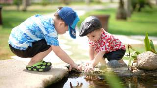 two little boys playing in a stream