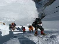 mountain climbers on mt everest team work